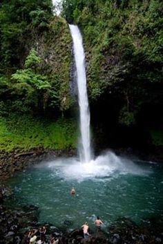 La Fortuna waterfall near Arenal Volcano in Costa Rica. Definitely one of the coolest places I've ever been. Hearing (and feeling) the rumble of the volcano while swimming there was unreal. Check-out our photo album on my Facebook page at http://facebook.com/matthewloop