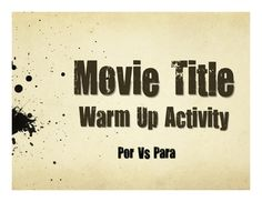 A great five-minute movie title warm up activity to help your students review por vs para in Spanish!Some movie titles your students will know some are from the 1920s! Some are kid movies, some are horror movies, and some are comedies. So I'm not recommending that anyone watch the movies! :) But they make a great warm up activity to translate the titles and they can be a great conversational starting point to look at language in an authentic context.This product is also available as part of…