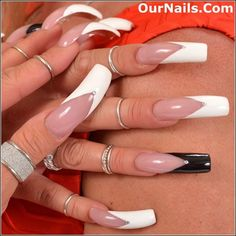 My current nails all polished in a V-tip French manicure with my ring finger na… – Long Nails – Long Nail Art Designs Square Acrylic Nails, Long Acrylic Nails, Acrylic Nail Designs, New French Manicure, French Nails, French Pedicure, Sexy Nails, Pink Nails, Curved Nails