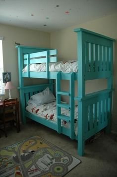 Bunk beds design and room ideas. Most amazing bunk beds for kids. Designing bunk beds that you might like. Bunk Beds With Stairs, Cool Bunk Beds, Kids Bunk Beds, Bunk Bed Ladder, Safe Bunk Beds, Bunk Bed Plans, Two Twin Beds, Bunk Bed Designs, Simple Bed