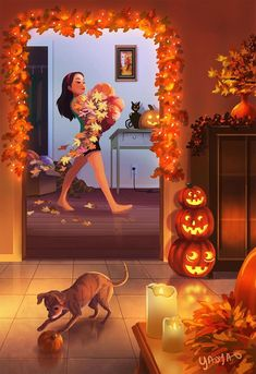 yaoyao ma van as illustration \ illustration yaoyao ; yaoyao ma van as illustration ; Cartoon Kunst, Cartoon Art, Art And Illustration, Art Illustrations, Arte Indie, Living With Dogs, Fantasy Kunst, Girl And Dog, Autumn Art