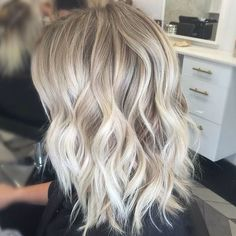 Ash blonde waves with silver highlights