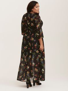 Black Floral Chiffon & Lace Maxi Shirt Dress (Short Inseam Now Available), COLOR ME GARDEN