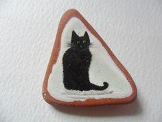 SALE half price -Black cat - Original miniature painting on sea smoothed English beach pottery