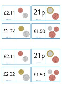 Fun and educational, loop cards are great for reinforcing your teaching on this topic. These ones feature a written money value on one side of the card a drawn representation of the coins on the other so that your children can practise understanding Teaching Letters, Primary Teaching, Primary Maths, Teaching Math, Money Activities, Teaching Resources, Ks2 Maths, Numeracy, Year 2 Maths