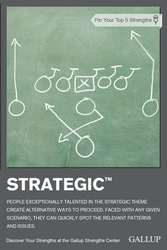 Quickly spotting relevant patterns and issues in any given scenario is a sign you may have Strategic as a strength. Discover your strengths at Gallup Strengths Center. www.gallupstrengthscenter.com