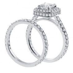 2.42 CT TW Pave Set Diamond Encrusted Princess Cut Engagement Bridal Set in 14k White Gold.