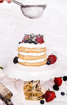This Eggo Waffle Cake is quick & easy to make with layers of homemade whipped cream & topped with fresh berries making it perfect for a special brunch or a fun party dessert! Winter Desserts, Christmas Desserts, Christmas Recipes, Party Food And Drinks, Party Desserts, Best Dessert Recipes, Delicious Desserts, Eggo Waffles, Oatmeal Pancakes