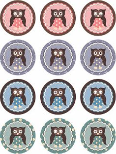 FREE printable owl cupcake toppers by Laine Design: Freebies (Bottle Cap) Printable Labels, Party Printables, Free Printables, Owl Parties, Owl Birthday Parties, Owl Crafts, Diy And Crafts, Paper Crafts, Colchas Quilt