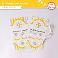 Cruz gris y amarillo: Estampita religiosa Ideas Para Fiestas, Birthday Ideas, Paper, Printable Cards, Invitation Cards, Bebe, Ideas Party