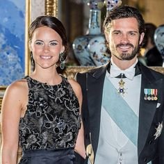 Prince Carl Philip & Sofia Hellqvist attended a gala dinner held for India President Shri Pranab Mukherjee at the Stockholm Palace on June 2015 in Stockholm, Sweden.