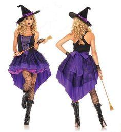 Plus Size XXL-S Halloween Witch Costume For Women Adult Sexy Purple Swallow  Tail Braces da94838f245d