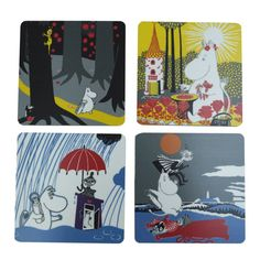 Beautiful handmade coasters with classic motif taken from Tove Jansson's original drawings in the Dangerous Journey. High quality wood, made in Sweden.4 pieces that come in gift box.Size: 9 x 9 cm.