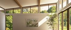 north wall clerestory windows to give character to the big blank space and to echo the same feature on the south side of the house? Roof Extension, Extension Ideas, Bungalow Renovation, Harbor House, Two Storey House, Clerestory Windows, Bungalow Homes, Living Comedor, Roof Styles
