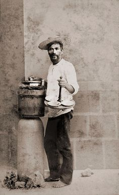 Mexican Icecream Vendor - visit us on line at www.mainlymexican... and on eBay #Mexican #Mexico #antique #vintage #photography