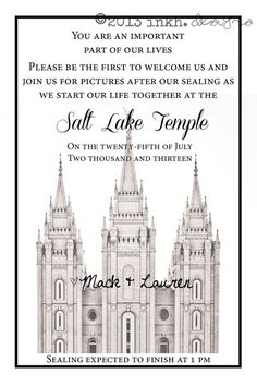 LDS Temple Wedding Ceremony Printable Invitation by INKHdesigns Need to redesign with LA temple Invitation Wording, Printable Invitations, Invites, Invitation Ideas, Hollywood Invitations, 50th Anniversary Invitations, Wedding Ceremony Script, Wedding Reception, Wedding Invitations With Pictures