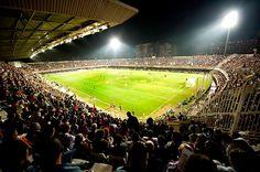 Estadio de fútbol: *Cartagonova*. En esos instantes disputandose el partido España-Hungría. CARTAGENA. España. Soccer Spain