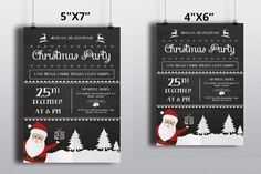 Christmas Invitations Template  Vintage by TemplateStock on Etsy