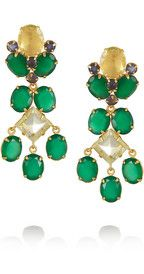 Bounkit24-karat gold-plated onyx and quartz clip earrings