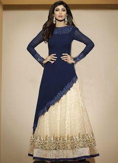 Shilpa Shetty Navy Blue Beige Cut Work Georgette Net Jacquard Lehenga Choli http://www.angelnx.com/Salwar-Kameez/Bollywood-Salwar