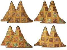 """22"""" Triangle Throw Pillows Vintage Indian Beaded Embroidered Tapestry Pillows"""