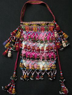 Uzbek LAKAY small ANTIQUE handmade female personal bag from North Afghanistan. Trade beads embroidery on silk fabric with great hangings. Such
