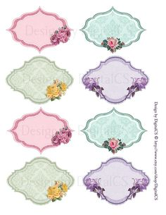 Shabby chic gift tag Shabby chic labels Diy Printable by DigitalCS & other printable #scrapbook paper