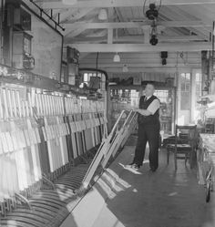 Inside a British Railways signal box, 1952