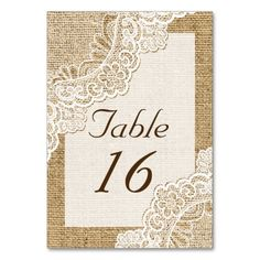 Rustic white lace on burlap wedding table number table card