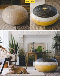 rattan pouf // before & after