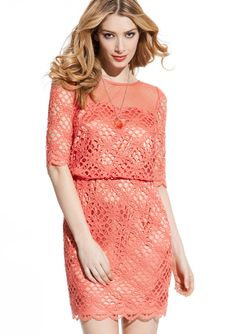 JAX Colored Lace Blouson Dress with Sheer Top