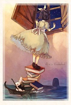 maybe a bit too whimisical and sketchy, in terms of illustrative style and colours, but I like the books and dress & concept in general