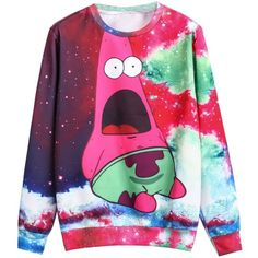Sheinside® Women's Red Long Sleeve Cartoon Galaxy Print... ($16) ❤ liked on Polyvore featuring tops, hoodies, sweatshirts, sweaters, shirts, 10. tops., red shirt, comic book, red sweat shirt and long sleeve shirts