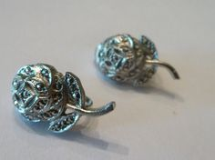 Vintage rose flower rhinestone earrings costume jewelry perfect for bride wedding or prom on Etsy, $7.40