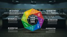 3D infographic colorful circle prezi presentation template