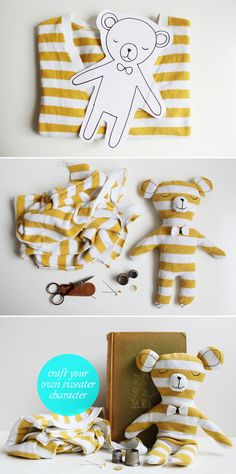 Make a bear from a sweater - shouldn't take too long and may be a gift for life.  The template here can most likely be blown up for bigger bears. For wee kids, maybe embroider on the nose, as well. #gifts #kids #baby #nursery #make #diy #kids