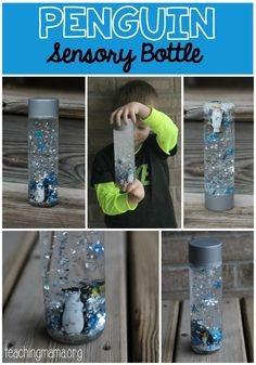 Penguin Sensory Bottle - Teaching Mama Oh I'm so excited to share our new sensory bottle with you today! This one is so much fun and we tried something really different this time! If your child is learning about penguins or Sensory Bags, Sensory Activities, Winter Activities, Preschool Activities, Sensory Play, Sensory Bottles Preschool, Sensory Table, Calming Bottle, Artic Animals