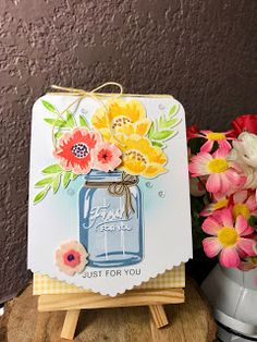 Pure Bliss: Ink To Paper: Laurie's Fabulous Favorites Mason Jar Cards, Mason Jars, Painted Lady Butterfly Migration, Birthday Charts, Love Stamps, Cool Cards, Flower Cards, Crafts To Make, I Card