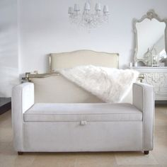 This blanket box would be an absolutely stunning addition to the end of any bed, particularly our very own Handmade in London Lockley bed. With its smooth lines and sophisticatedly simple shape, this box is simply gorgeous. What's more, this item is not o Large Furniture, Shabby Chic Furniture, Bedroom Furniture, Furniture Design, Sweetpea And Willow, Blanket Box, Bedroom Seating, Trunks And Chests, Fabric Houses