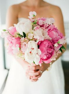 beautiful peony and sweet pea bouquet (pinned from: beyond the aisle) | shades of pink and white | blush pink, light pink and hot pink flower bouquet