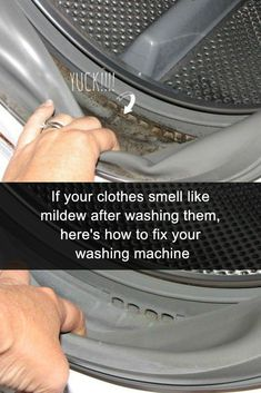 Here's how to get that mildew smell out of clothes and towels. If they come out of the washing machine (whether its a front loader or not) and smell like mildew, these brilliant tips and ahcks will have your laundry smelling fresh. You need an effective DIY washing machine cleaner so that smell does not persist. #laundrytips #laundry #lifehacks #laundryroom