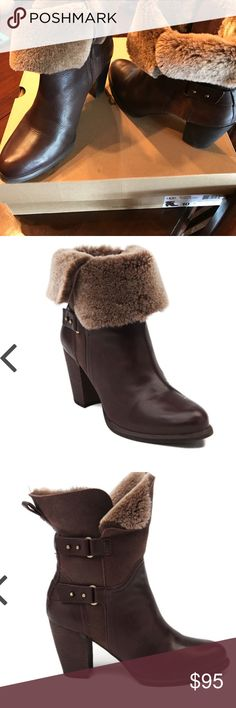 """UGG Jayne Boots Mint condition, lightly used. No visible wear except on tread (very minimal at all). Smoke free home. Comes with dust bag and original box/packaging. Stand tall with the Jayne! > Smooth leather upper > Soft shearling lining for warmth and comfort > Decorative ankle straps with gold-tone hardware > Side zipper for easy slip-on and off > Stacked heel with rubber outsole for traction > Shaft Height: 7"""" > Shaft Circumference: 11"""" > Heel: 3"""" UGG Shoes Ankle Boots & Booties"""