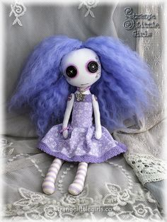 Pastel Goth cloth art doll with button eyes Lavender Day by Strange Little Girls