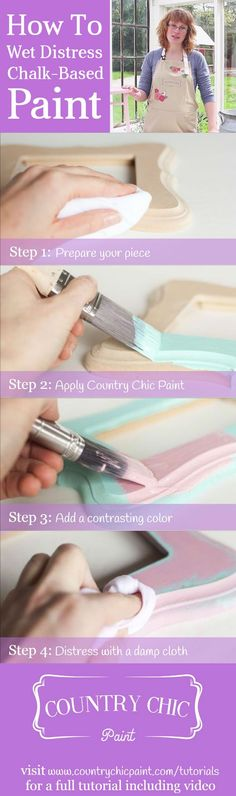 How to wet distress painted furniture for a shabby chic finish #countrychicpaint - www.countrychicpaint.com/tutorials