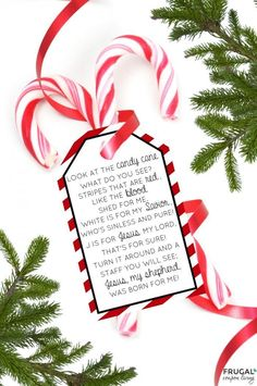 The Legend of the Candy Cane Poem - Free Printable Gift Tag for Christmas. Use as a gift for Sunday School, church, witnessing, Awana and more. Christmas Eve Traditions, Christmas Poems, Christmas Ribbon, Christmas Candy, Christmas Crafts, Christmas Tree, Christmas Parties, Christmas Movies, Christmas Lights