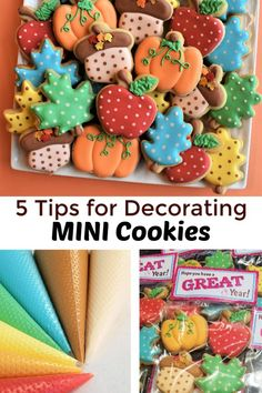 Five Tips for Decorating MINI Cookies – The Flour Box Thanksgiving Cookies, Fall Cookies, Mini Cookies, Cute Cookies, Chocolate Chip Recipes, Mint Chocolate Chips, Pumpkin Dessert, Pumpkin Cheesecake, No Cook Desserts