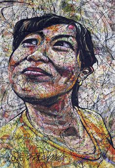 YiPyung Kim 김이평 // 'Portrait of Choi, Kyung Hee' '최경희의 초상' // Reactive dye, Acid dye, Silk, 2015