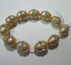 """Gold Freshwater Pearl 9x11mm Oval with Channel Set Clear Crystal Beads 5"""" #2"""