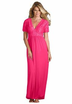 303f2496e577 Amoureuse Plus Size Long Lace Top Gown (sweet Berry,2x) Plus Size Nighties