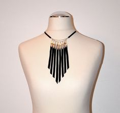 Black leather necklace with silver chains, silver leafs and fringes